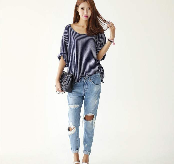 Wholesale Product Snapshot Product name is 2014 Summer New Korean Fashion Denim Jeans Woman Loose Low Waist Big Hole Ripped Vintage Long Pencil Pants 1458# S/M/L