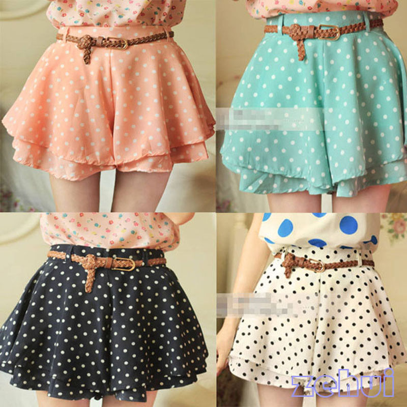Sweet Girl Women Retro Pleated Polka Dot Chiffon Skirt Mini Dress Shorts w Belt | eBay