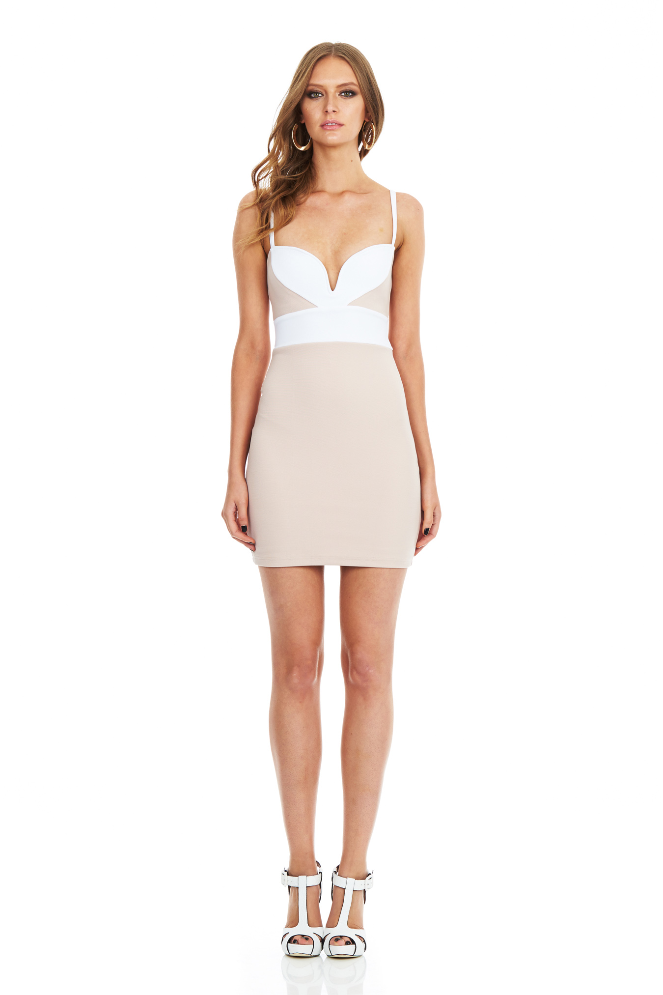 Nude/White Bonita Body Con Dress : Buy Designer Dresses Online at Nookie