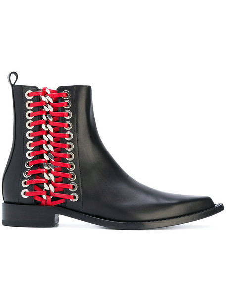 boot women braided leather black shoes
