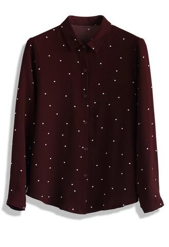shirt sweet my dots crepe shirt in wine chicwish wine polka dots