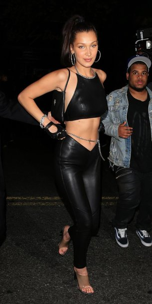top crop tops pants celebrity style celebrity mules bella hadid all black everything met gala Met Gala 2018 model off-duty backless shoes