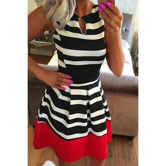 dress cute stripes red black and white tan feminine trendy rose wholesale-ap
