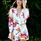 Floral print long sleeves romper playsuit - choies.com