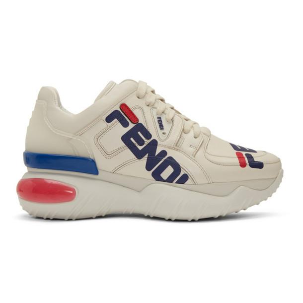 Fendi White 'Fendi Mania' Chunky Sneakers