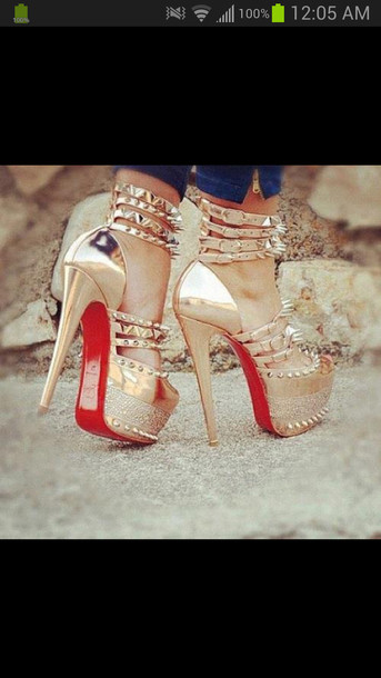 shoes spiked shoes high heels gold red bottoms