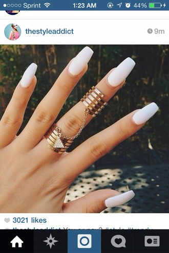 jewels ring nail accessories double ring gold ring jewelry knuckle ring rings and tings
