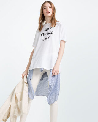 top zara slogan t-shirts white top t-shirt