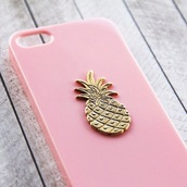 phone cover,pineapple,gold pineapple,pink cover iphone