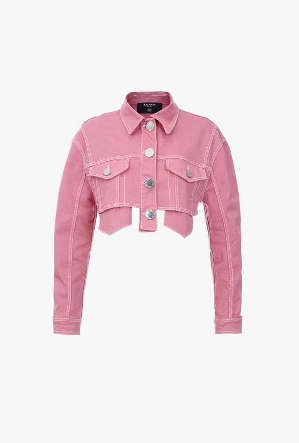 Short pink denim jacket with silver-tone buttons