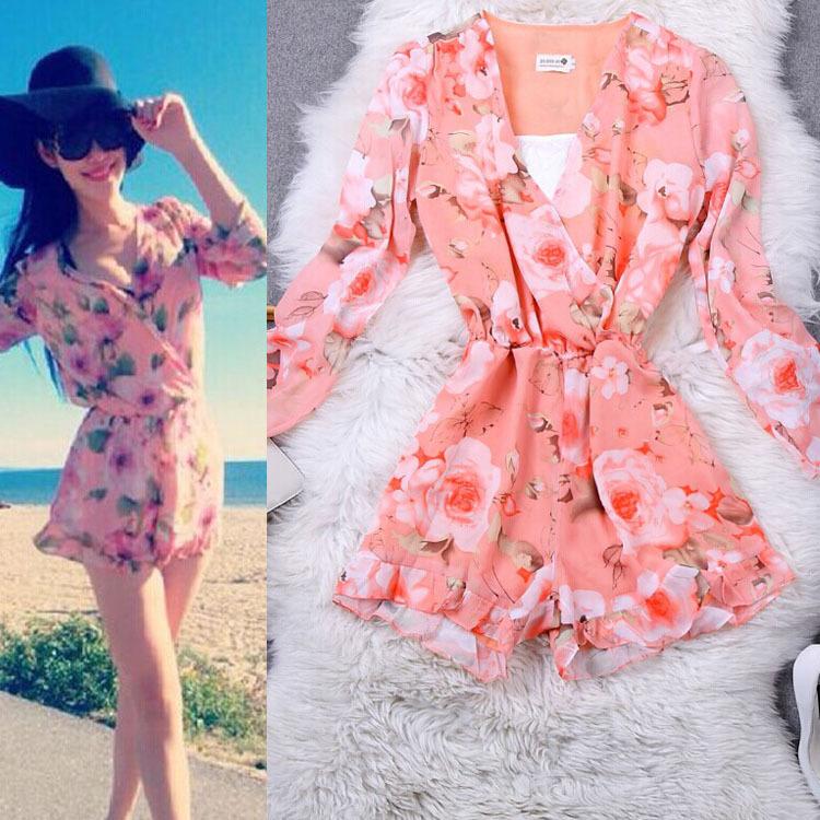Cute floral shorts playsuit / fanewant