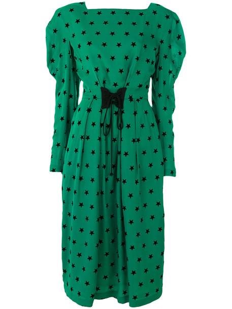 Push Button dress print dress women print silk green