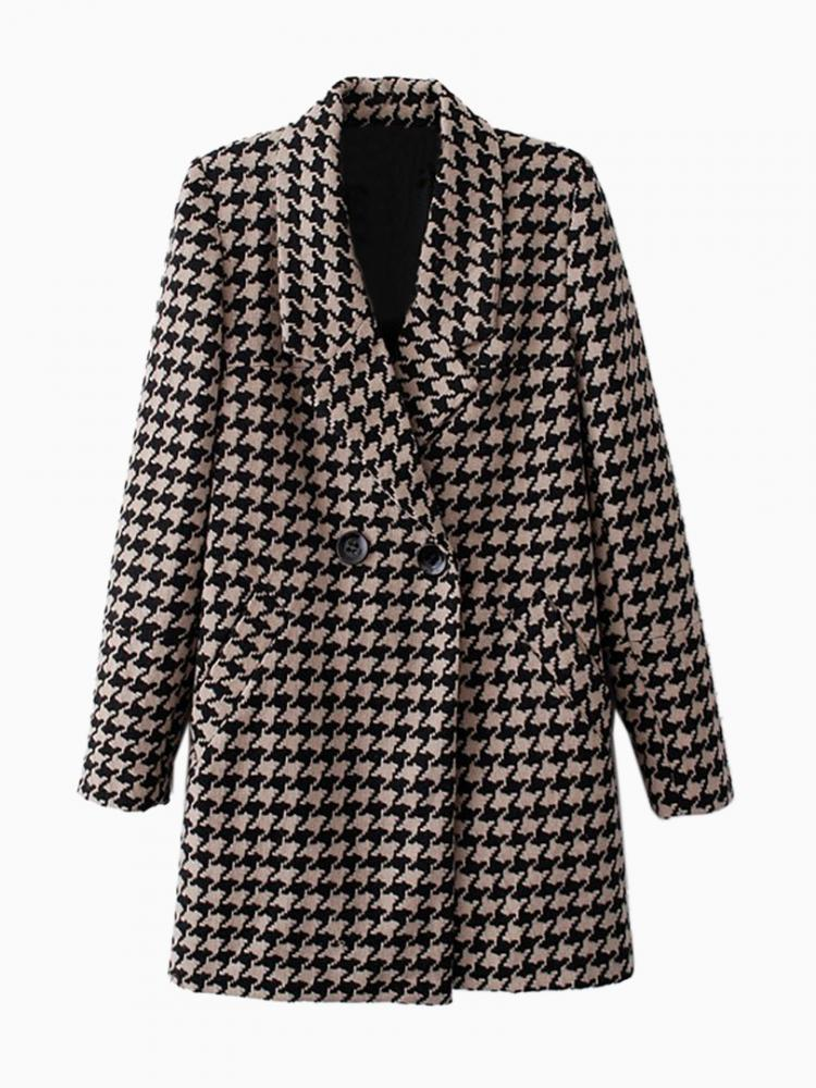 Longline Houndstooth Coat in Black and Brown | Choies