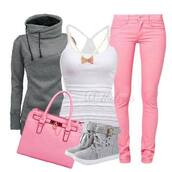 jeans,pink,skinny jeans,tank top,sweater,high tops,bag,shoes,grey hoodie,grey boots,socks