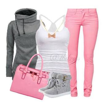 jeans pink skinny jeans tank top sweater high tops bag shoes grey hoodie grey boots socks