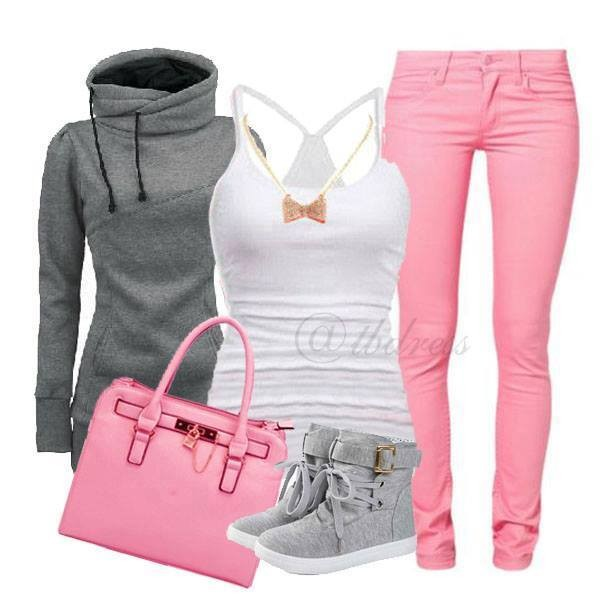 jeans pink skinny jeans tank top sweater high tops bag shoes grey hoodie grey boots