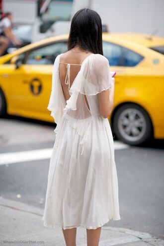 dress white dress backless dress ruffle ruffle dress chiffon dress midi dress summer dress spring dress low back short wedding dress short sleeve