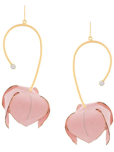 MARNI women plastic earrings floral cotton grey metallic jewels