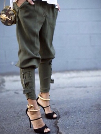 shoes black heels gold military style pants jeans
