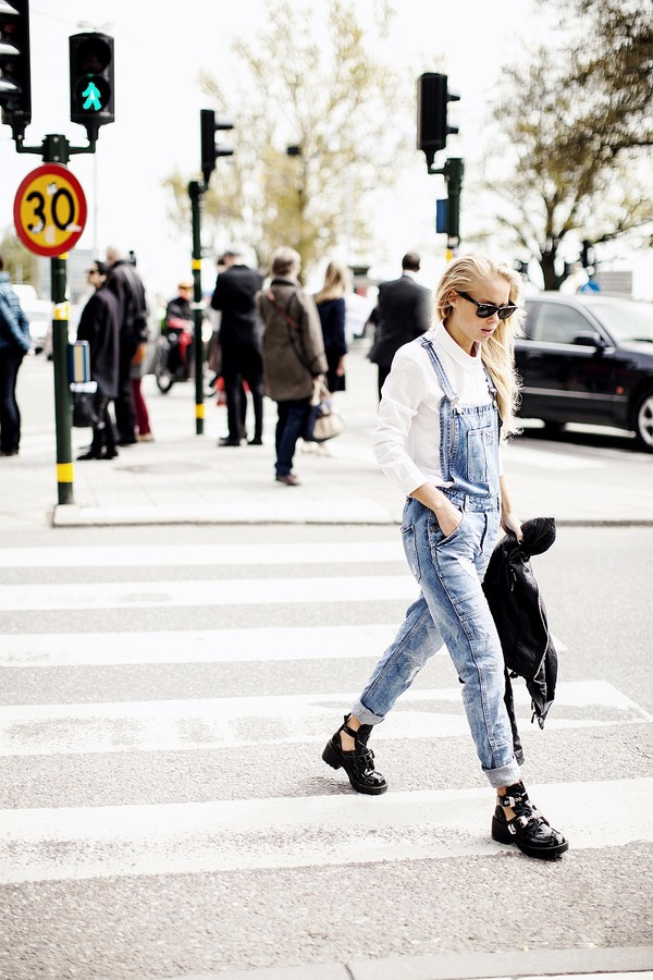 victoria tornegren shirt shoes cut out ankle boots denim overalls