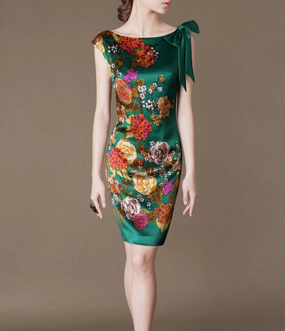 Green SILK Floral Pattern Elegant Noble Summer OL Slim Women Fashion Dress lml7048 - ott-123 - Global Online Shopping for Dresses