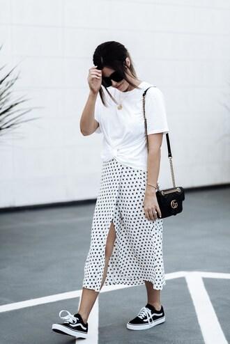 skirt midi skirt wrap skirt front tie t-shirt t-shirt vans sneakers blogger blogger style polka dots crossbody bag