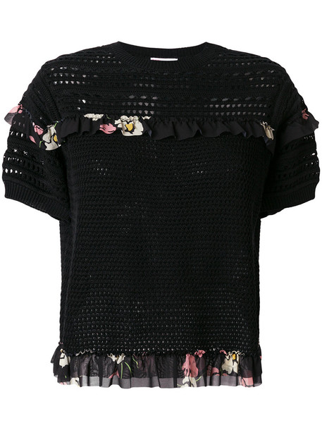 RED VALENTINO top women floral cotton black knit