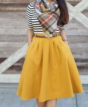 skirt,yellow,midi skirt,pockets