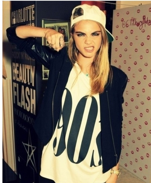 t-shirt white black leather leather jacket blonde hair model cara delevingne jacket hat