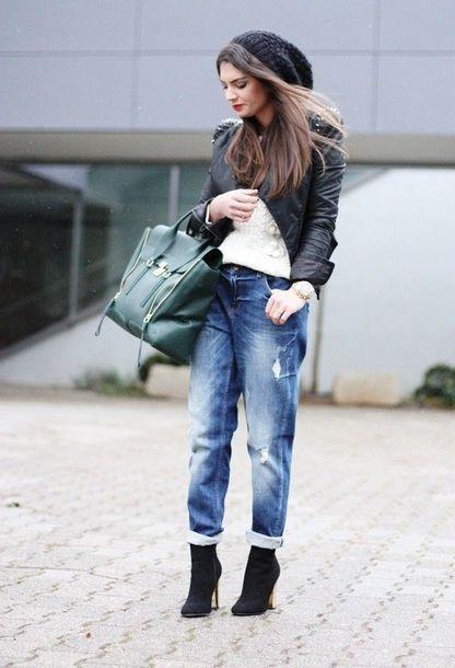 jeans black beanie leather jacket green bag boyfriend jeans black heel boots blogger