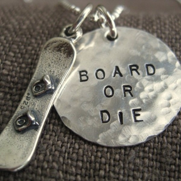 boarding snowboarding silver necklace silver die keychain winter sports jewels