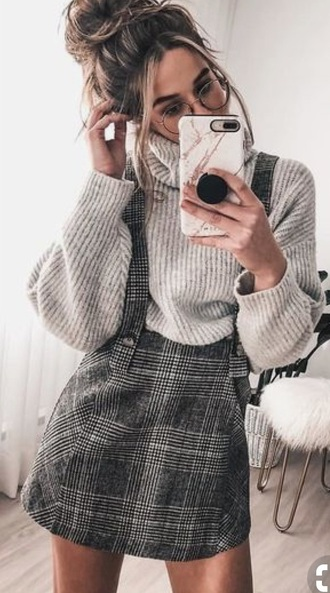 skirt checkered tartan braces buttons black pinterest pinterest outfit