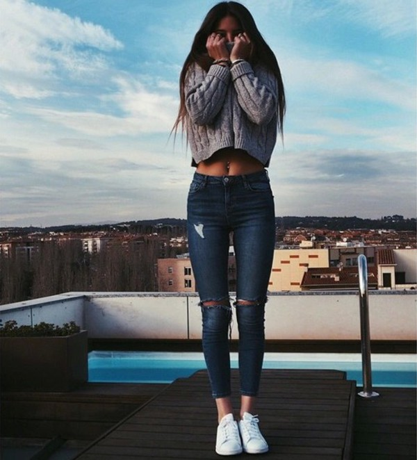 jeans ripped jeans sweater shirt beautiful skinny jeans denim blue jeans grey winter outfits cold grey sweater nice outfit comfy clothes cropped sweater knitted sweater cute girly tight tumblr knee ripped