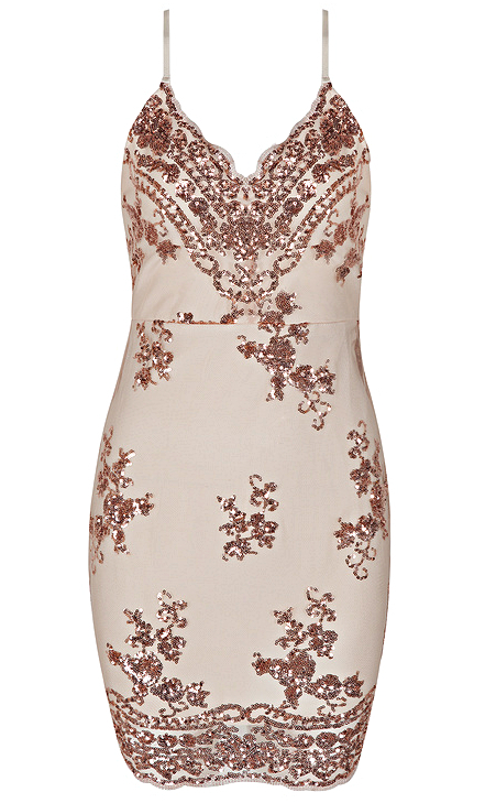 Sequin Embellished Bandage Dress Nude