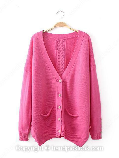 Pink V-neck Long Sleeve Button Knit Top - HandpickLook.com