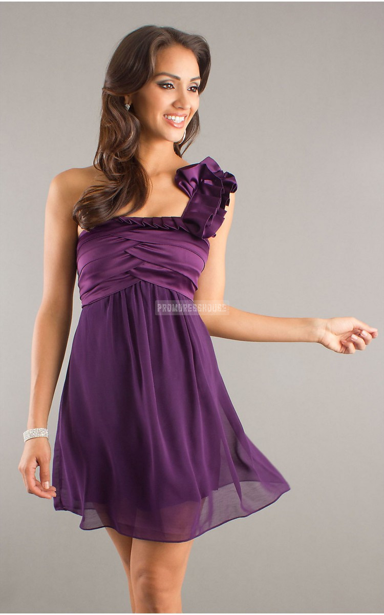 Grape Chiffon A-line Zipper Ruching Empire Cocktail Dress - Promdresshouse.com
