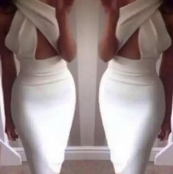 dress criss cross neck midi dress white dress