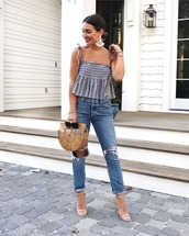 top,tumblr,stripes,striped top,denim,jeans,blue jeans,ripped jeans,bag,sandals,sandal heels,high heel sandals,earrings,shoes,jewels