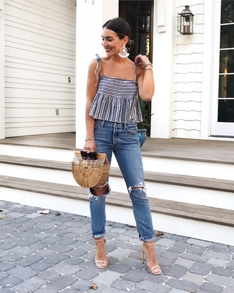 top tumblr stripes striped top denim jeans blue jeans ripped jeans bag sandals sandal heels high heel sandals earrings shoes jewels