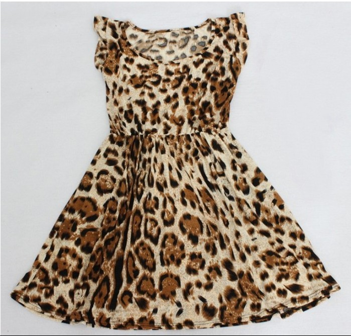 New Spring 2014 Women Casual dress Leopard Print Microfiber Summer Dress Women Ruffles Dresses XS XXL-in Dresses from Apparel & Accessories on Aliexpress.com