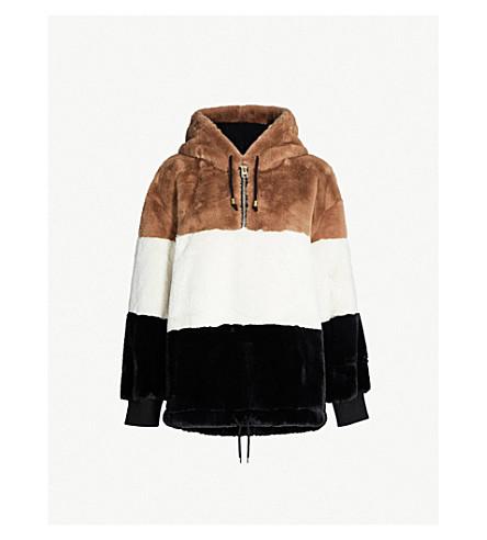 TOPSHOP Colour block faux-fur hoody