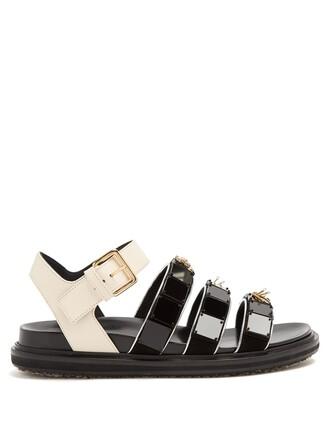 embellished triple sandals leather sandals leather black shoes