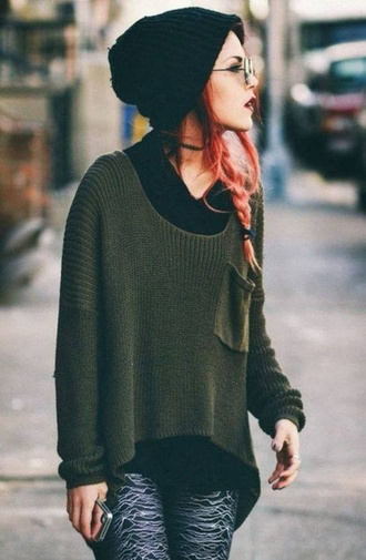 oversized kaki sweater sweater jumper loose sweater oversized sweater green green sweater khaki forest green beanie sunglasses joy division leggings hipster grunge fashion blogger boho ombre jewels