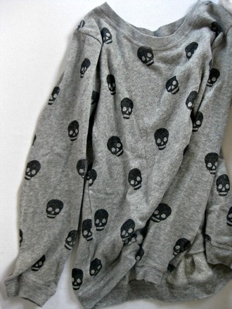 sweater grey skull cotton tumblr jumper shirt skeleton clothes tumblr clothes cute sweaters sweatshirt gray with black skulls skull sweater grey sweater punk top black metal goth emo alternative