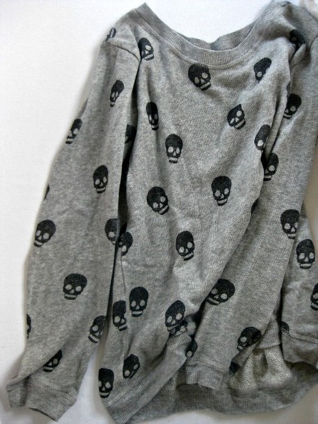 sweater grey skull cotton tumblr grey jumper shirt skeleton clothes tumblr clothes cute sweaters sweatshirt gray with black skulls sweater skull sweater skull grey sweater punk top black metal goth emo alternative