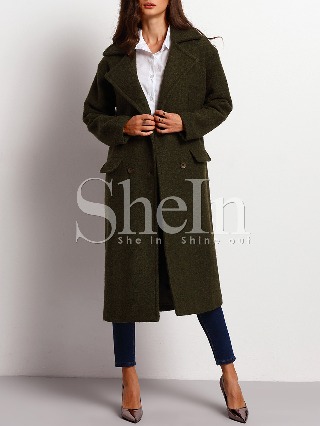 Green Long Sleeve Lapel Coat -SheIn(Sheinside)