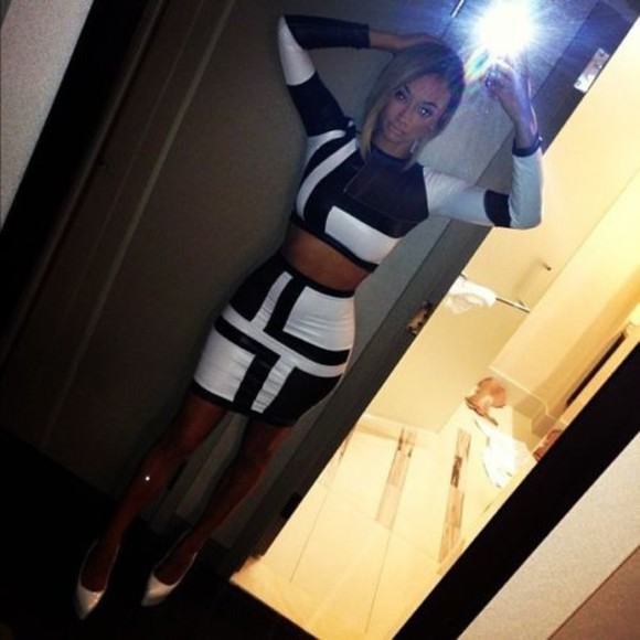 bandage dress two-piece two-piece color block black and white