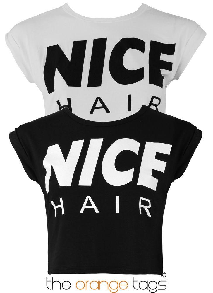 WOMENS CROP TOP NICE HAIR PRINT LADIES SHORT SLEEVE STRETCH VEST T-SHIRT TEE   eBay