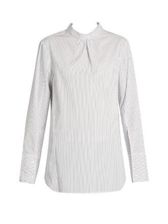 shirt back open white top