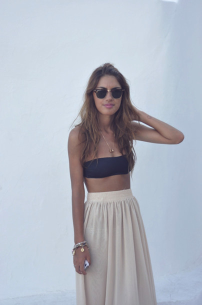 skirt maxi skirt high waisted maxi maxi skirt highwaistedskirt long skirt beige skirt bandeau swimwear shirt high waisted